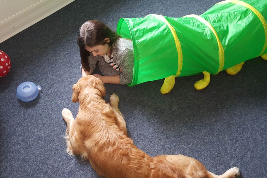 Therapiehund Emma in der Praxisw für Logopädie in Kücknitz